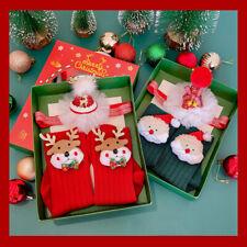 New Year Xmas Christmas Santa Reindeer Baby Newborn Headband Socks Hair Gift Set