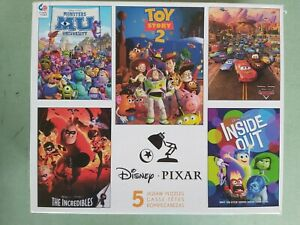 Set 5 Disney Pixar Puzzles Monsters Inc Cars Toy Story Incredibles Inside Out