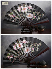 27cm Black Nice Chinese Traditional Handheld Fold Fabric Fan with Peonies