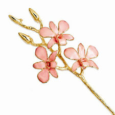 Lacquer Dipped Gold Trimmed Pink Orchid Stem