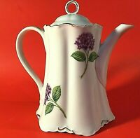 "VINTAGE COFFEE TEA POT PORCELAIN 9"" HIGH BASKET FLOWERS PURPLE LAVENDER GREEN"