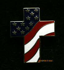 CROSS USA FLAG US HAT LAPEL PIN JESUS CHAPLAIN GOD CHRISTIAN CHURCH GIFT ANGEL