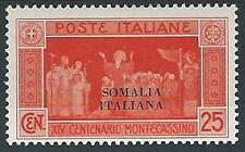 1929 SOMALIA MONTECASSINO 25 CENT MH * - K66