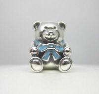 Exquiste Pandora 925 Sterling Silver Charm Son Blue Teddy Bear 791124EN41