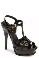 $895+ YSL SAINT LAURENT TRIBUTE T-STRAP PLATFORM SANDAL SHOE Sz 37 .5 BLACK