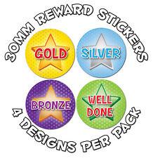 144 x or,Argent,Bronze,Bien Fait,Sport Récompenses 30mm Stickers Professeurs