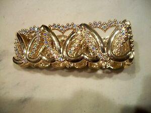 NOLAN MILLER Signed Bracelet LOVE HEARTS Goldtone Austrian Crystals Free Ship