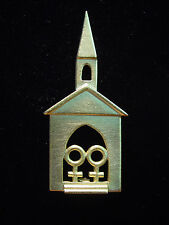 """JJ"" Jonette Jewelry Gold Pewter 'Community Church ~ God's House' Pin"