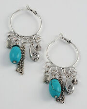 SILVER AND TURQUOISE CHARM EARRINGS