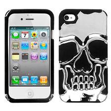 APPLE iPHONE 4 4S SKULLCAP DUAL LAYER HYBRID CASE SILVER PLATING/BLACK