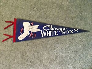 Vintage 1950's Chicago White Sox Baseball Pennant Full Size with Tassels NOS