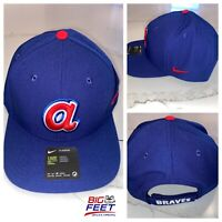 Nike Atlanta Braves Cooperstown Classic Hank Aaron Retro Hat Blue Dri Fit OSFA