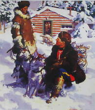 Canadian Mountie RMCP Sled Dogs Log Cabin