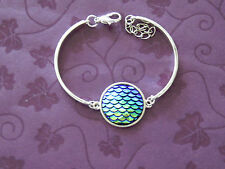 Sleek Handmade Ocean Nautical Beach Themed  AB Mermaid Scales SP Charm Bracelet