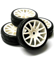 82829W 1/16 Scale RC Nitro Car Wheels and Tyres Complete x 4 HSP White Plastic