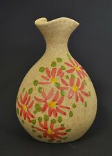 """Hand Made & Hand Painted Pottery Vase 5 1/4"""" H x 3 3/4"""" W PSRC-1"""