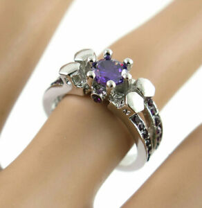 Hot Betsey Johnson purple Crystal White Colour Ring Size 7 Valentine's Day Gift