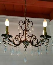 Vintage 5 arm scrolled Ornate Spanish Brass Chandelier with lots of Crystals
