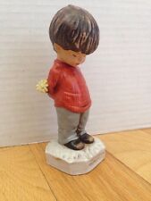 Vintage Moppets Fran Mar Figurine Japan Boy Flowers