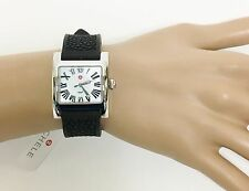 NEW-MICHELE SILVER TONE,BLACK SILICONE BAND ROMAN NUMERIC MOP DIAL WATCH