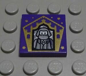 Lego Fliese - Kachel 2x2 Dunkellila mit Dekor aus Harry Potter          (1715 #)