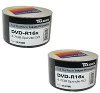 100 Ritek Traxdata Blank DVD-R Discs Inkjet Printable 4.7GB 16X Speed 2x50 Pack