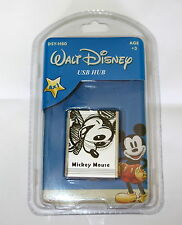 Disney Mickey Mouse Retro Mini Hub Usb De Plata Y Negro Mickey diseño del logotipo