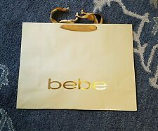 """BEBE BRAND Gold Paper Retail Large Shopping Gift Bag New 18"""" long 14"""" tall"""