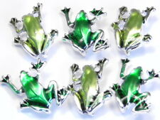 6 - 2 HOLE SLIDER BEADS LINKS CONNECTORS SILVER PLATED METAL GREEN ENAMEL FROGS