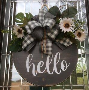 """Hello Round Front Door Wooden Wreath Everyday Farmhouse Door Wreath Wall 18"""""""