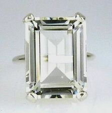 Stunning Large Emerald Cut White Topaz Ring, 18X13MM .925 Sterling Silver