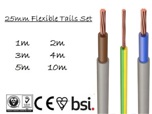 25mm Flexi Meter Tails Set Brown Blue Double Insulated Flexible with 16mm Earth