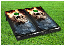 VINYL WRAPS Cornhole Boards DECALS Harley Flames Skull Toss Game Stickers 134