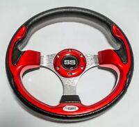 Golf Cart Steering Wheel Ultra Style Red Black Fits EZGO Club Car Yamaha