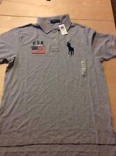 New listing Nwt Polo Ralph Lauren Men's American Flag shirt Gray Usa logo Lt Gl