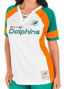 MAJESTIC NFL Team Apparel MIAMI DOLPHINS V-Neck Jersey Shirt Womens NWT