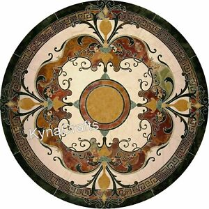 50 Inches Marble Dining Table Top with Pietra Dura Art Hallway Table for Home