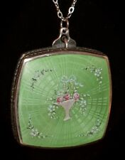 Antique STERLING ENAMEL GUILLOCHE Raised Hand Painted Flowers Compact NECKLACE