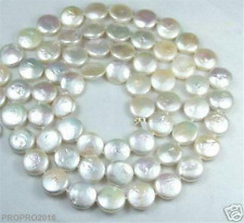 Natural 13-14mm White Coin Pearl Long Necklace 30''