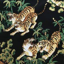 Tiger fabric, black metallic gold, oriental chinese asian cotton, animal print