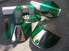 NEW GREEN VINTAGE STYLE HOOD BUG / VENT DEFLECTORS / HEAD LIGHT VISORS !