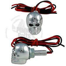 Chrome Skull LED License Plate Bolt Red Diodes Motorcycle Auto Light Fastener
