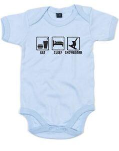 Eat Sleep Snowboard, Printed Baby Grow Baby Shower Gift Romper Soft Bodysuit