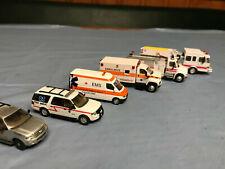 (6) HO 1:87 emergency vehicles: 2-Firetrucks, 2-ambulances, fire medic, Iowa HP