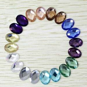 6x8/8x10/10x14/13x18mm Oval Flatback Crystal Glass Cabochons Faceted Rhinestone