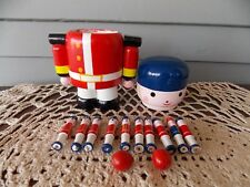 Vintage Wooden Toy Soldier with 10 Bowling Pins & 2 Wooden Balls Made in China