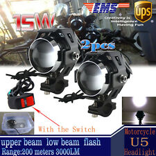 2X 125W Motorcycle CREE U5 LED Driving Headlight Fog Lamp For BMW & Switch