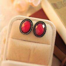 Fashion Vintage Style Leopard Print Earrings Elliptic Big Rhinestone Ear Stud