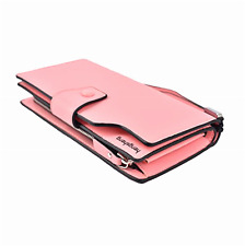 Women Leather Wallet LAdy Zipper Purse RFID Credit Card Clutch Holder Case Pink