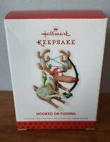 Hallmark Keepsake Ornament 2013 Hooked on Fishing Reindeer Fisherman Rod Reel